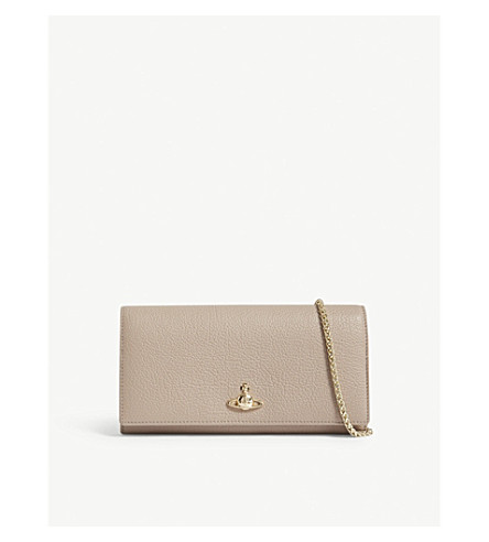 VIVIENNE WESTWOOD Balmoral grained leather wallet-on-chain (Taupe