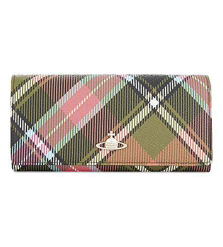 VIVIENNE WESTWOOD Derby checked grained leather wallet (Multi