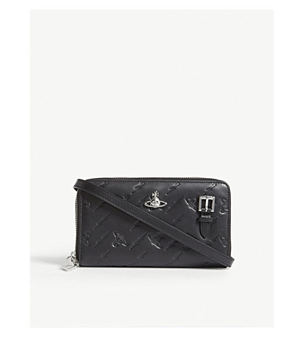 VIVIENNE WESTWOOD Canterbury embossed leather cross-body wallet (Black