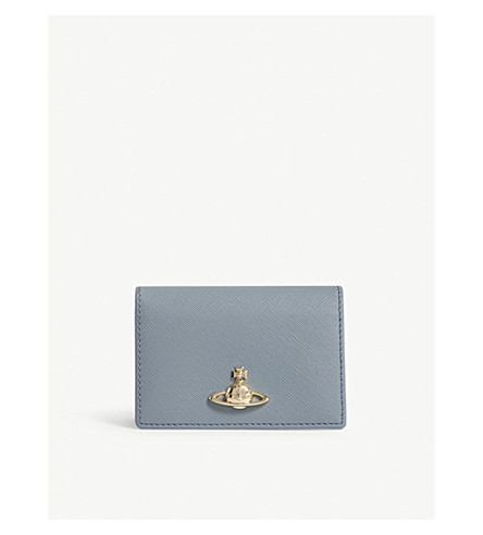 VIVIENNE WESTWOOD Pimlico grained leather card holder (Blue