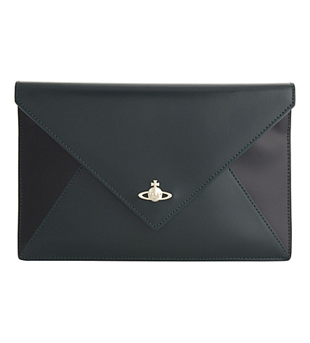 VIVIENNE WESTWOOD Private leather clutch (Green/black