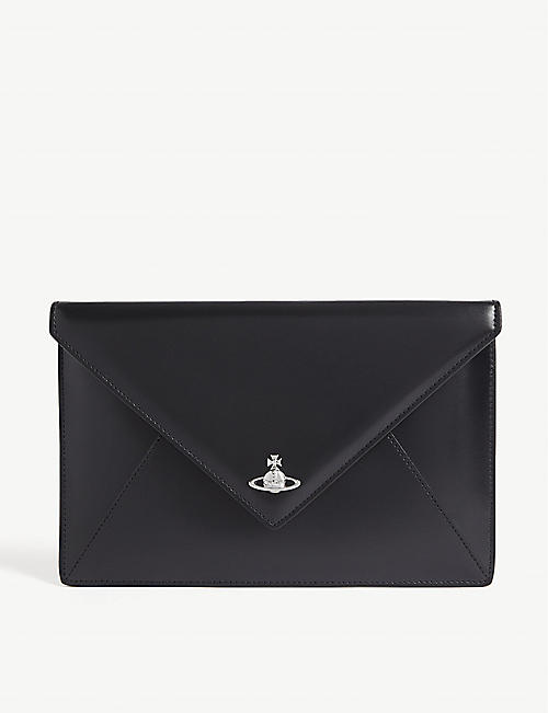 Womens Pouch On Sale, Grey, Patent, 2017, one size Vivienne Westwood