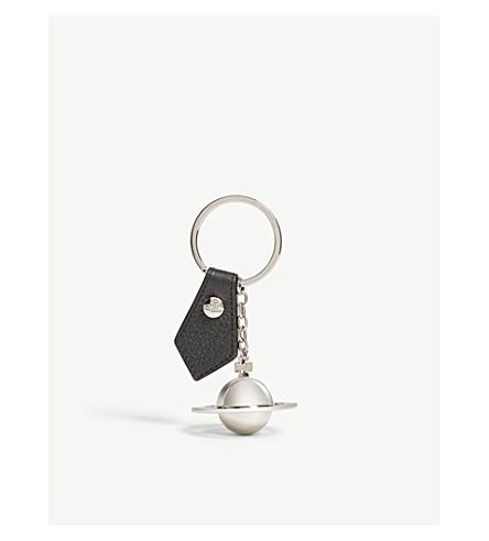VIVIENNE WESTWOOD Orb emblem leather keyring (Black/titanium