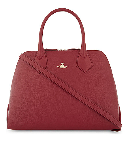 VIVIENNE WESTWOOD Balmoral grained leather tote (Red