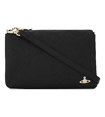 VIVIENNE WESTWOOD Harrow leather clutch (Black