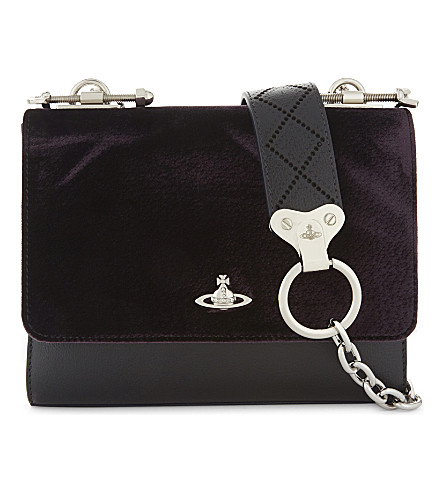 VIVIENNE WESTWOOD Sheffield small cross-body bag (Purple+and+black