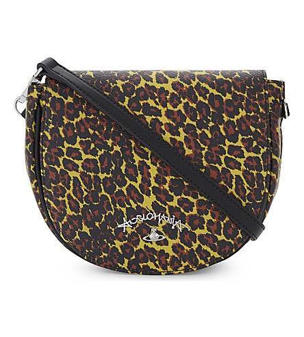 VIVIENNE WESTWOOD Anglomania leopard-print leather shoulder bag (Yellow
