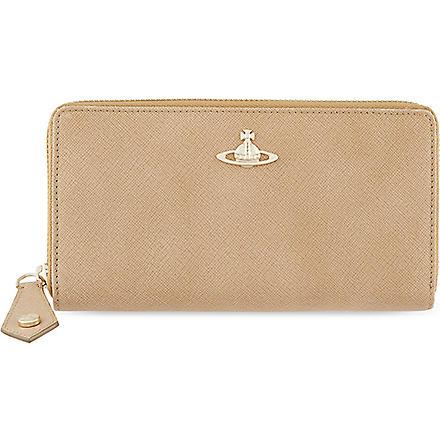 VIVIENNE WESTWOOD Divina saffiano zip-around wallet (Beige