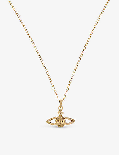 VIVIENNE WESTWOOD JEWELLERY: Bas Relief Orb mini yellow gold-toned brass and Swarovski crystal necklace