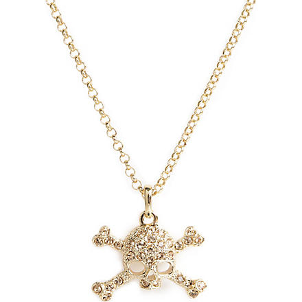 VIVIENNE WESTWOOD Diamante skull pendant necklace (Gold