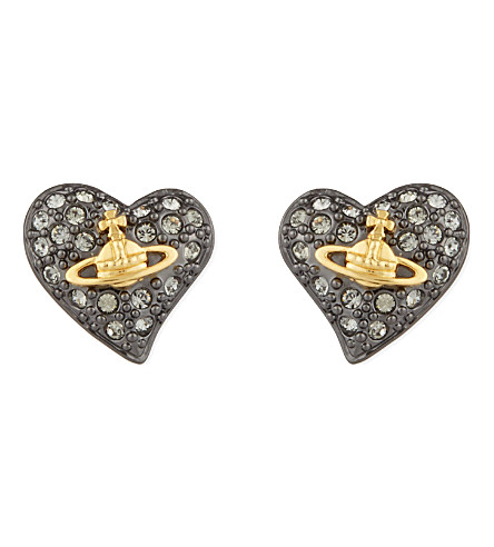 VIVIENNE WESTWOOD JEWELRY Tiny diamanté heart studs (Black+dia/gun