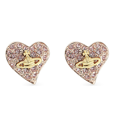VIVIENNE WESTWOOD JEWELLERY Heart stud earrings (Copper/gold+orb