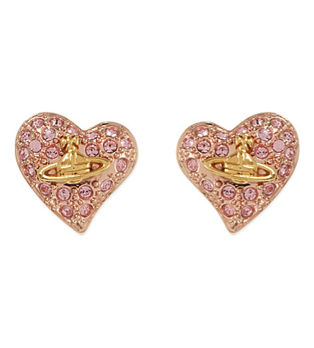 VIVIENNE WESTWOOD JEWELLERY Heart stud earrings (Light+rose
