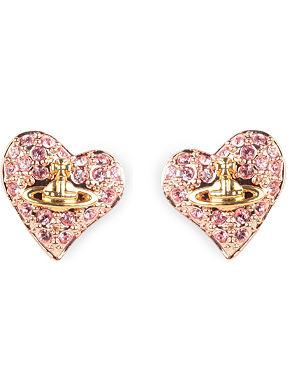 VIVIENNE WESTWOOD Diamante heart stud earrings