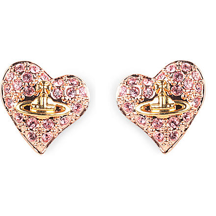 VIVIENNE WESTWOOD JEWELLERY Diamante heart stud earrings (Pink