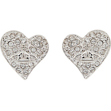 VIVIENNE WESTWOOD Diamanté heart stud earrings (Crystal/rhodium
