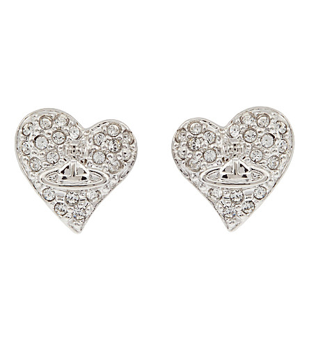 VIVIENNE WESTWOOD JEWELLERY Diamanté heart stud earrings (Crystal/rhodium