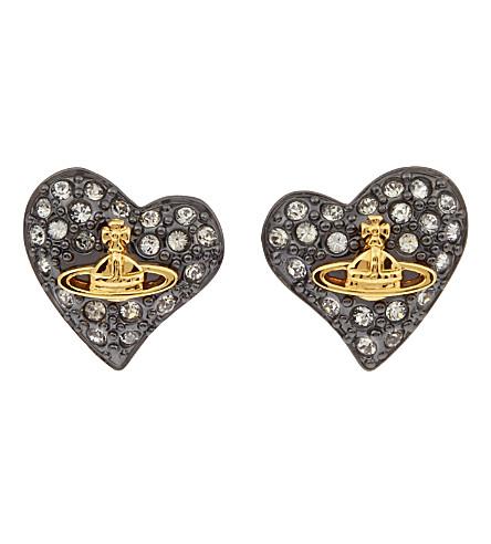 VIVIENNE WESTWOOD JEWELLERY Diamanté heart studs (Black dia/gun