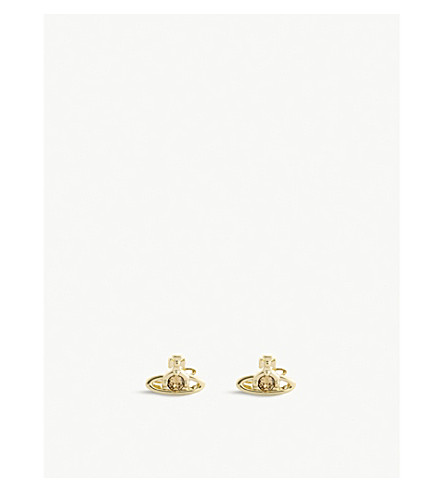 VIVIENNE WESTWOOD JEWELRY Nano Solitaire orb stud earrings (Topaz/gold