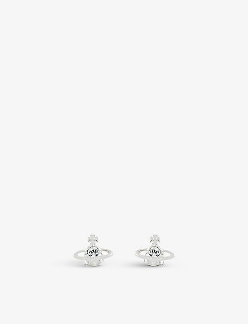 VIVIENNE WESTWOOD JEWELLERY: Nano Solitaire silver-toned brass and Swarovski crystal stud earrings