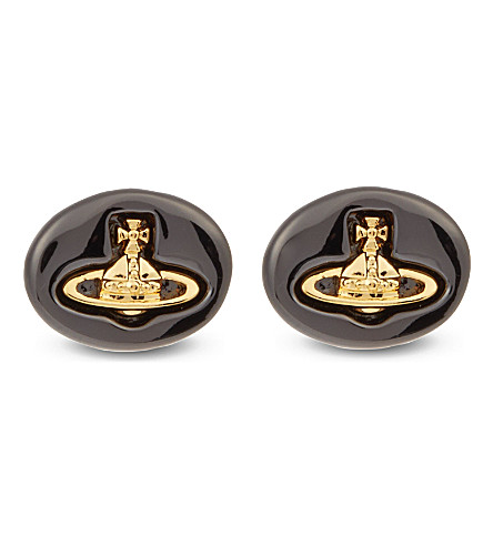 VIVIENNE WESTWOOD JEWELLERY Embossed logo stud earrings (Gunmetal/gold