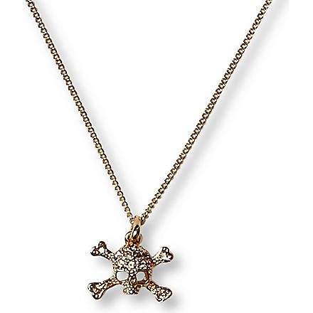 VIVIENNE WESTWOOD Diamante skull mini pendant necklace (Topaz/gold