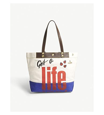 VIVIENNE WESTWOOD Anglomania Get A Life cotton canvas shopper bag (Ivory/royal+blue