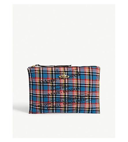 VIVIENNE WESTWOOD Maasai Suka checked canvas pouch (Blue