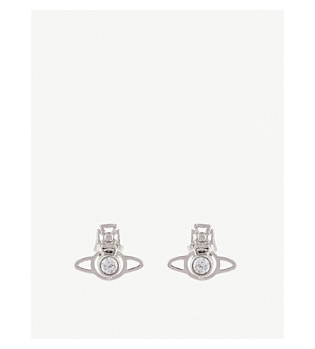 VIVIENNE WESTWOOD JEWELLERY Nora orb earrings (White+cubic+zirc/rhodium