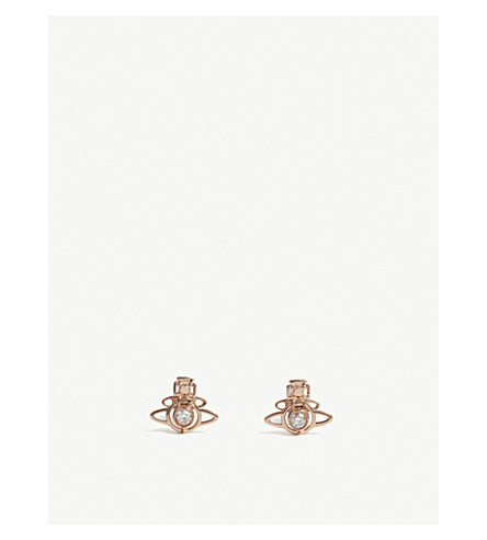 VIVIENNE WESTWOOD JEWELLERY Nora orb earrings (Lght+pnk+cbc+zrc/rhodium