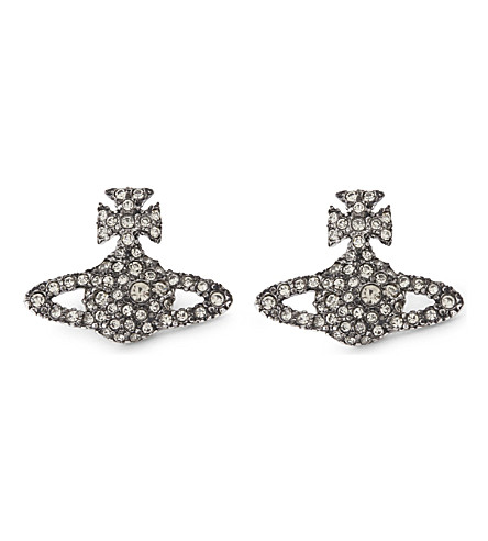 VIVIENNE WESTWOOD JEWELLERY Grace orb sterling silver stud earrings (Blackdiamond