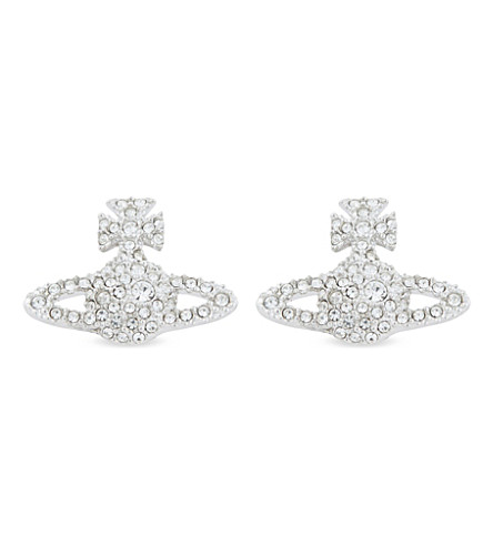VIVIENNE WESTWOOD JEWELLERY Grace Bas Relief pavé orb stud earrings (Crystal/rhodium
