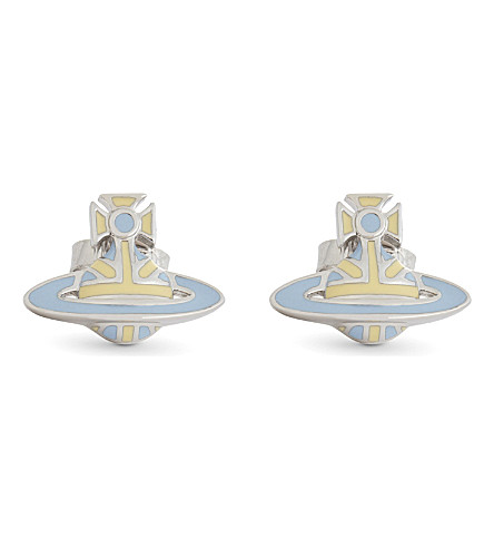 VIVIENNE WESTWOOD JEWELLERY Orb stud earrings (Pale+blue/+pale+yellow