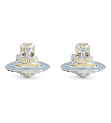 VIVIENNE WESTWOOD JEWELLERY Orb stud earrings (Pale+blue/+pale+yellow