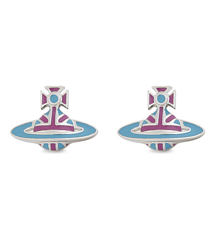 VIVIENNE WESTWOOD JEWELLERY Orb stud earrings (Blue/fuchsia