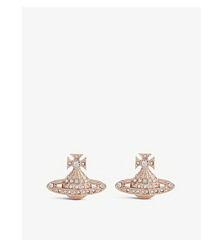 VIVIENNE WESTWOOD JEWELLERY Minnie Bas Relief orb stud earrings (Crystal/pink gold