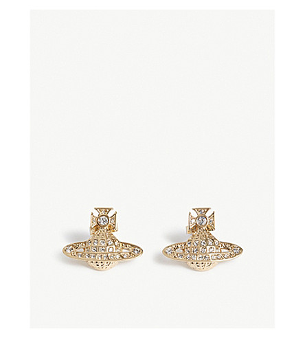 VIVIENNE WESTWOOD JEWELLERY Minnie Orb stud earrings (Crystal/gold