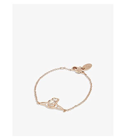 VIVIENNE WESTWOOD JEWELLERY Nora Saturn Orb bracelet (Whte+cubic+zirc/pink+gld