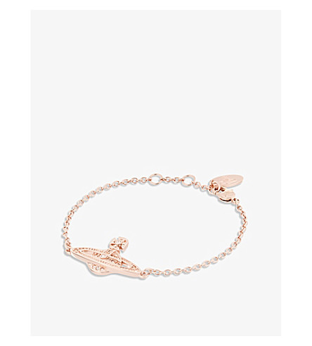 VIVIENNE WESTWOOD JEWELLERY Mini Bas Relief diamante orb bracelet (Silk/rose+gold