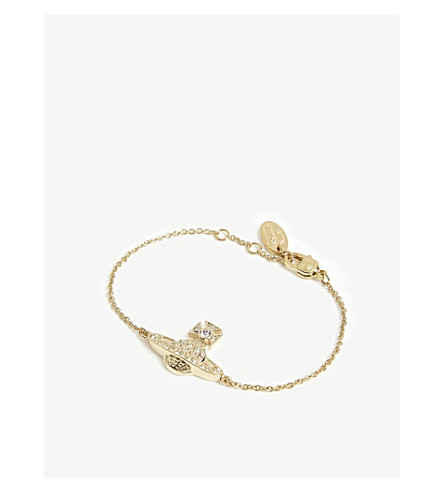 VIVIENNE WESTWOOD JEWELLERY Mini Bas Relief chain bracelet (Crystal/gold