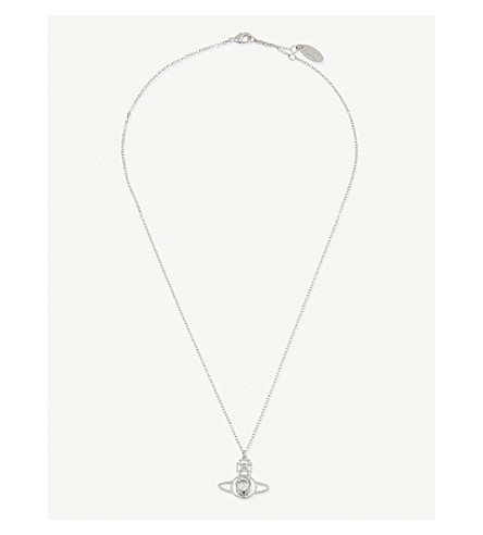 VIVIENNE WESTWOOD JEWELLERY Nora orb pendant necklace (White+cubic+zirc/rhodium