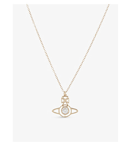 VIVIENNE WESTWOOD JEWELLERY Nora Orb pendant (Whte+cubic+zirc/pink+gld
