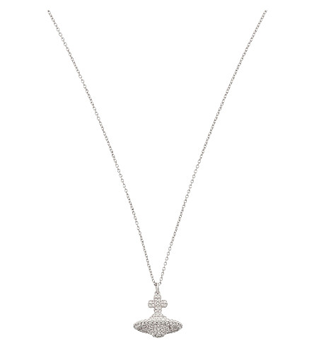 VIVIENNE WESTWOOD JEWELLERY Grace small pavé orb necklace (Crystal/rhodium