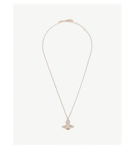 VIVIENNE WESTWOOD JEWELLERY Minnie Bas Relief necklace (Crystal/pink gold
