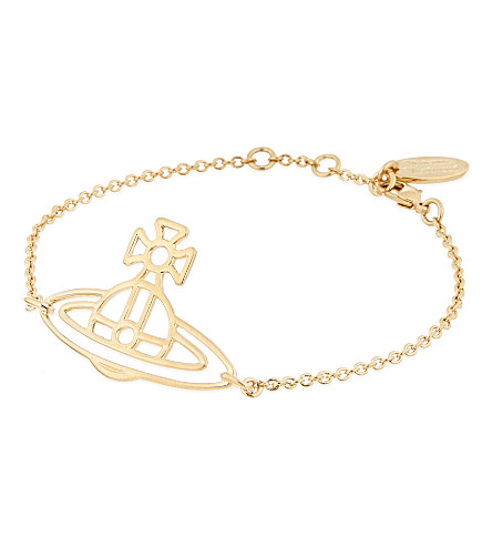 VIVIENNE WESTWOOD JEWELRY Thin Lines flat orb bracelet (Gold