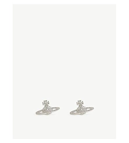 VIVIENNE WESTWOOD JEWELLERY Orb stud earrings (White+opal/+crystal/rhod