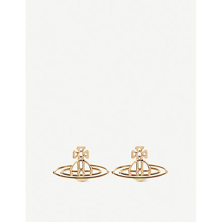 VIVIENNE WESTWOOD Thin lines flat orb stud earrings (Gold