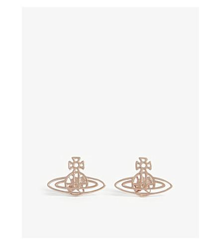 VIVIENNE WESTWOOD 珠宝薄皱纹扁球柱耳环 (粉红色 + 金色