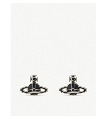 VIVIENNE WESTWOOD JEWELLERY Kate Orb stud earrings (Blk/palladium
