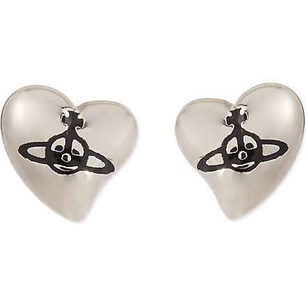 VIVIENNE WESTWOOD New heart stud earrings (Black/palladium